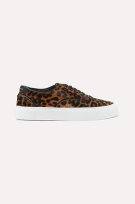 Saint Laurent Venice Logo-print Leather-trimmed Leopard-print Calf Hair Sneakers - Leopard print