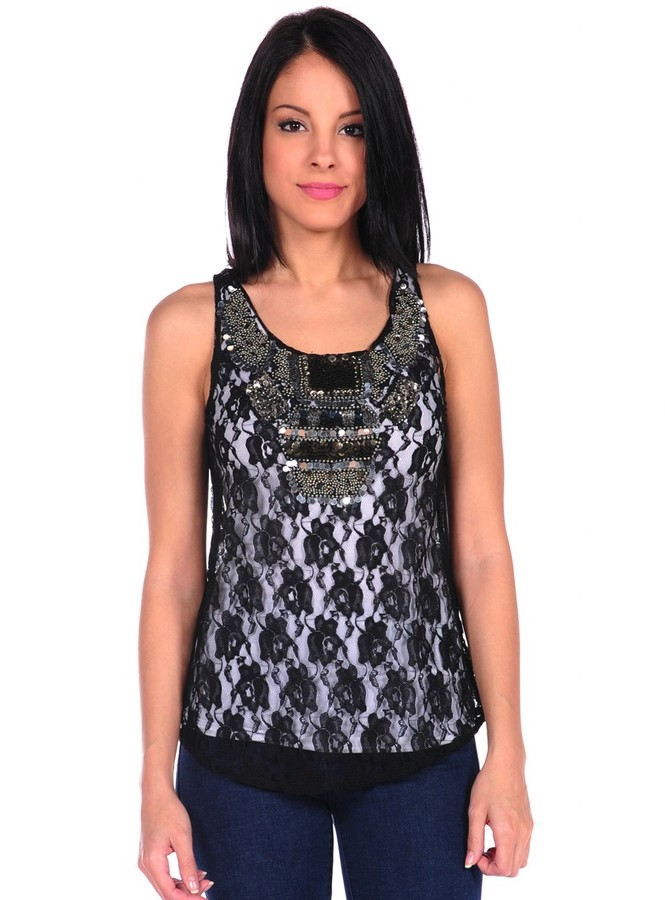 Romeo & Juliet Couture Lace Top w/Beads