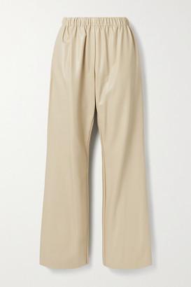 Deveaux Savannah Faux Leather Wide-leg Pants - Beige