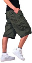 Tortor 1bacha Men's Elastic Waist Multi Pocket Cargo Shorts