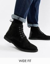 Asos Design DESIGN Wide Fit desert boots in black suede with leather detail