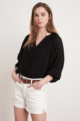 Velvet by Graham & Spencer Cathy Cotton Gauze Peasant Blouse