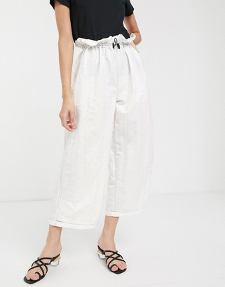 ASOS DESIGN wide leg trouser with paperbag waist in shell fabric