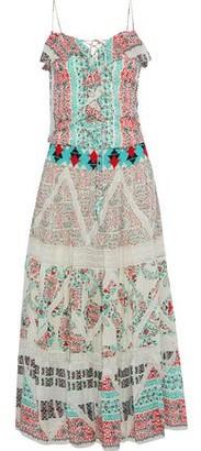 Etro Bead-embellished Ruffled Printed Silk-seersucker Maxi Dress