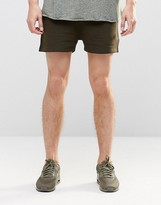 Asos Jersey Runner Shorts In Dark Khaki