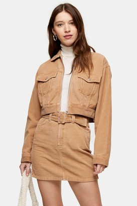 Topshop Womens Sand Corduroy Zip Front Fitted Jacket - Sand
