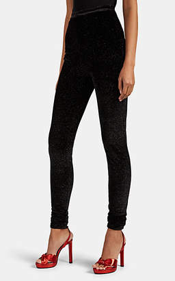 Philosophy di Lorenzo Serafini Women's Glitter-Embellished Velvet High-Rise Leggings - Black