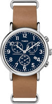 Timex Weekender Slip-Thru Tan Leather Strap Chronograph Watch TW2P623009J