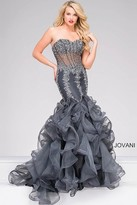 Jovani Sheer Bodice Long Mermaid Prom Dress 42883