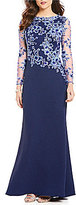 Tadashi Shoji Boat Neck Lace Bodice Illusion Long Sleeve Gown