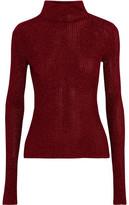 Tibi Metallic Ribbed-Knit Turtleneck Sweater