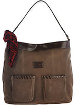 Tignanello As Is Suede RFID Front Pocket Hobo with Scarf
