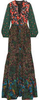 Saloni Ginny Ruffled Printed Silk Crepe De Chine Maxi Dress - Dark green