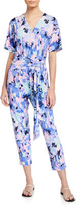 Lilly Pulitzer Maliah Floral V-Neck Short-Sleeve Cropped Jumpsuit