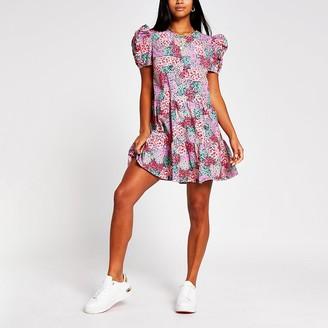 River Island Petite floral puff sleeve smock dress