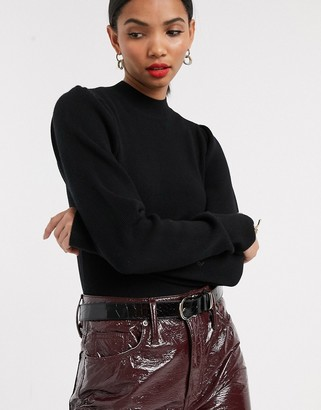 And other stories & high neck crop jumper in black