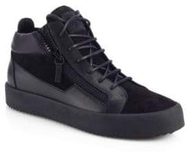 Giuseppe Zanotti Leather& Suede Double-Zip Sneakers