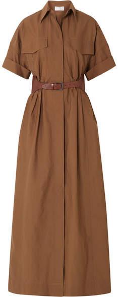 Brunello Cucinelli Belted Crinkled Cotton-blend Maxi Dress - Brown