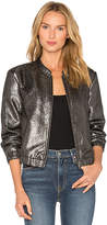 Paige Rosie HW x Kimi Bomber Jacket in Metallic Silver