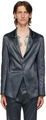 Ludovic de Saint Sernin Grey Satin Suit Blazer