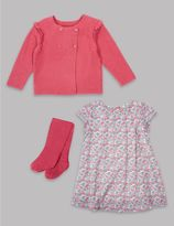 Marks and Spencer 3 Piece Cardigan & Dress with Tights Outfit