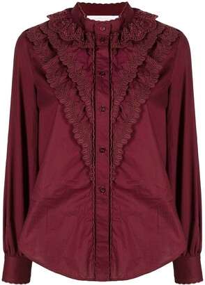 See by Chloe Broderie Anglaise Flounces Shirt