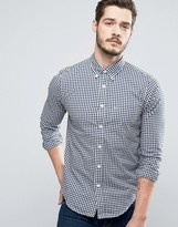 Abercrombie & Fitch Poplin Shirt Muscle Slim Fit In Navy Gingham