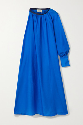 ZEUS + DIONE Galene One-sleeve Linen-trimmed Cotton And Silk-blend Midi Dress - Blue