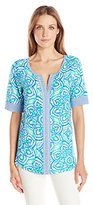 Caribbean Joe Women's Medallion Multi Color Printed Cotton Rayon Elbow Sleeve Scoop Neck Tee Top
