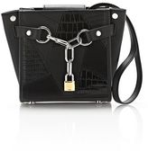 Alexander Wang Attica Chain Mini Satchel In Mixed Black Patchwork With Rhodium