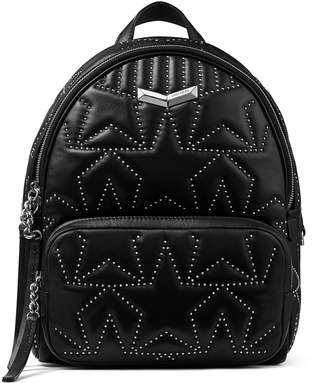 Jimmy Choo HELIA BACKPACK Black Star Matelasse Nappa Leather Backpack with Mini Studs