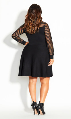 City Chic Ribbed Sweater Dress - black