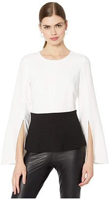 BCBGMAXAZRIA Peplum Top (Optic White Combo) Women's Blouse