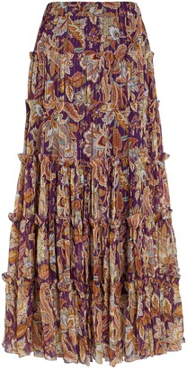 Zimmermann Ladybeetle Tiered Lurex Midi Skirt