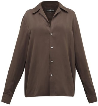Edward Crutchley Camp-collar Satin Shirt - Brown