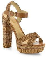 Schutz Lorah Braided Leather Platform Sandals