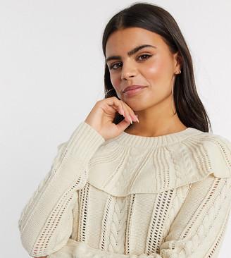Vero Moda Petite pointelle jumper with ruffle collar in beige