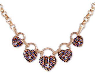 "GUESS Gold-Tone Multicolor Pave Crystal Heart Station Necklace, 18"" + 2"" extender"