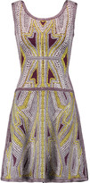 Herve Leger Flared jacquard-knit mini dress