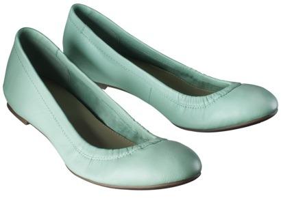 Mint Women's Merona® Emma Genuine Leather Scrunch Flat
