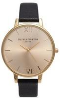Olivia Burton 'Big Dial' leather strap watch