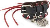 Alexander McQueen Medallion charm leather double wrap bracelet