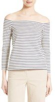 Theory Women's Aprine K Classic Stripe Off The Shoulder Top