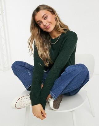 JDY Daisy long sleeve pullover knitted jumper in dark green