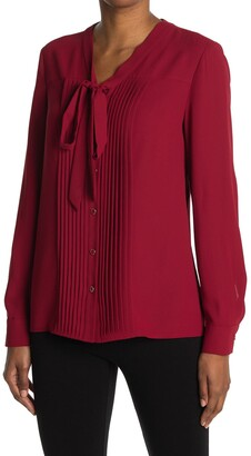 Anne Klein Pleated Neck Tie Long Sleeve Blouse