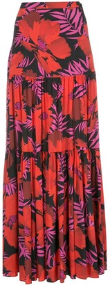 Veronica Beard Serence Poppy-print maxi skirt