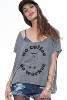Local Celebrity No Coffee Alexa Tee in Heather Grey