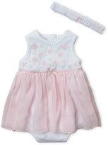Little Me Newborn Girls) Floral Crochet Bodysuit Dress