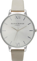 Olivia Burton Big Dial leather and silver-plated watch