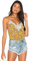 Free People Printed Pretty Thing Cami in Yellow. - size L (also in M,S,XS)